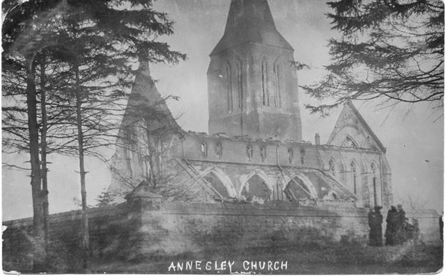Annesley All Saints Church, destroyed by fire