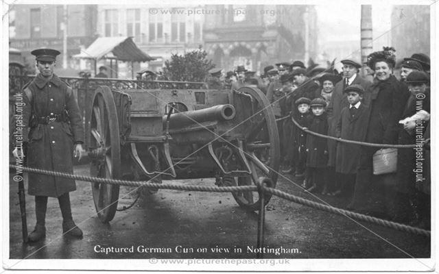 Captured German Gun on View in Old Market Square? Nottingham, c 1914-1918