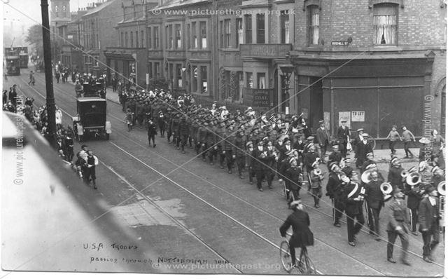 US troops pass through Nottingham, 1918