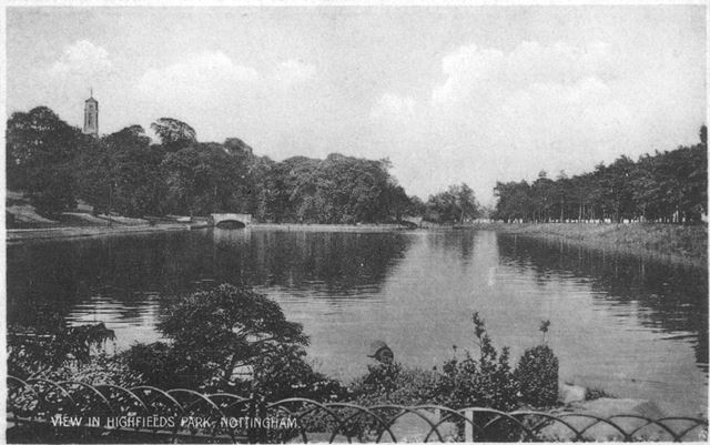 view at Highfields Park, Nottingham