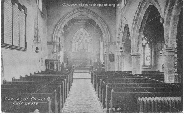 Interior of St. Mary's Church, Main Street, East Leake, c 1900