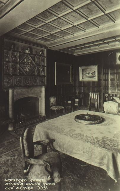 Newstead Abbey - Byron' s Dining Room. 'REX' postcard No.559, 1920s?