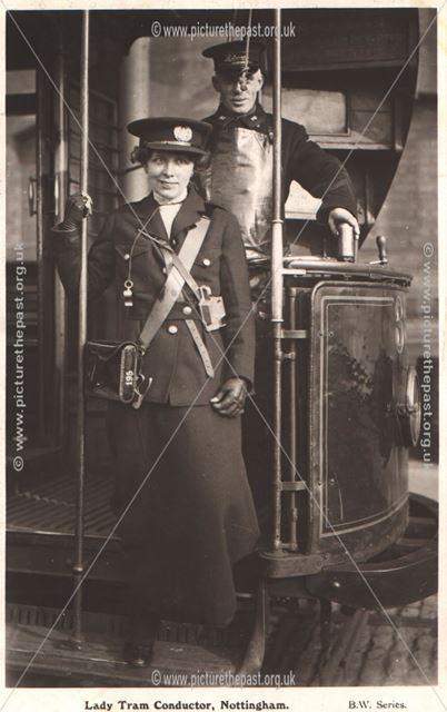 Lady tram conductor
