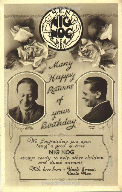 Nig Nog Children's Club Flyer, Nottingham, 1920-39