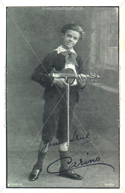 Promotional Card for Boy Violinst, Nottingham, c 1900s