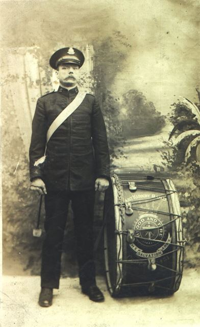 Salvation Army drummer - East Kirkby band, Kirkby in Ashfield, c 1900s