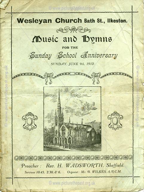 Sunday School Anniversary Poster, Wesleyan New Church, Bath Street, Ilkeston, 1912
