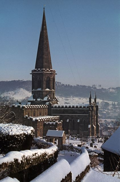 All Saints Church with Snow, South Church Street, Bakewell, 1979