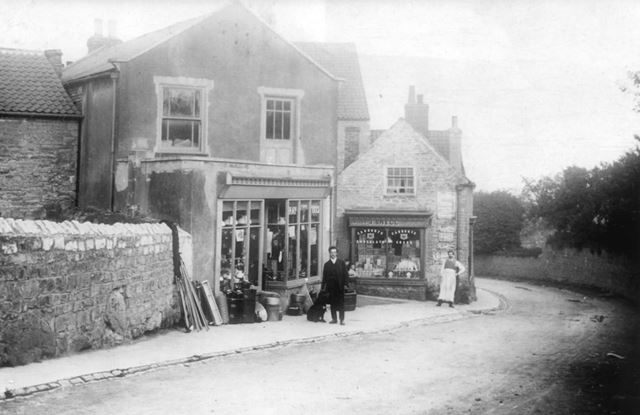 Milnes Ironmongers and Snell's Grocers, High Street, Whitwell, c 1920s