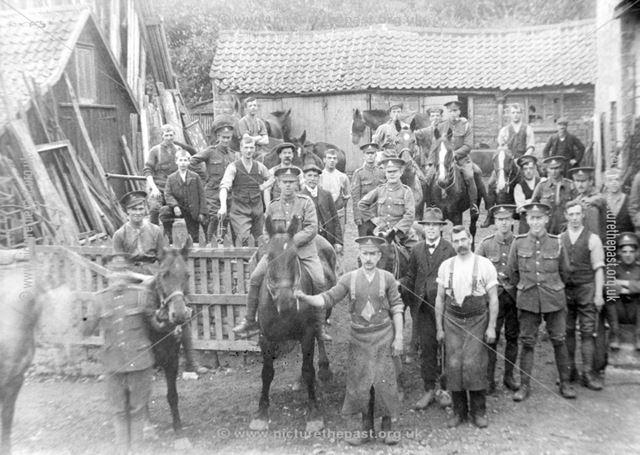 Blacksmiths with Cheshire Yeomanry, High Street, Whitwell, c 1910s