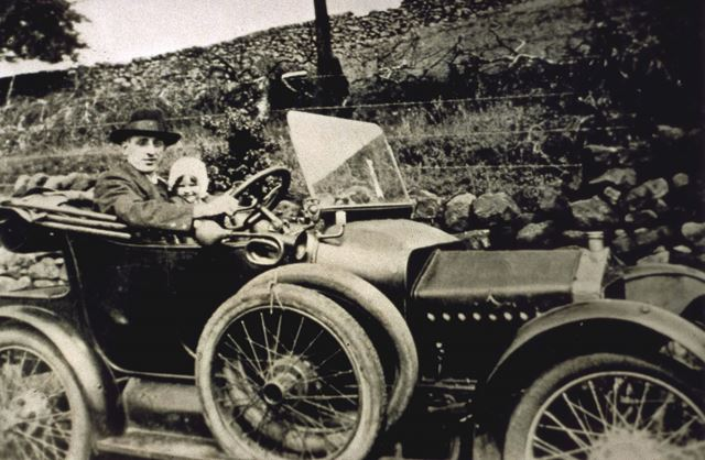 Mr Larner in his motor car, Whitwell, c 1930's
