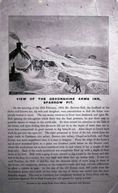 Printed view of the Devonshire Arms Inn, Sparrow Pit, 1888