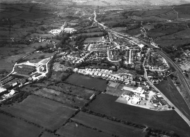 Aerial View Dorma and Mills, Chinley, 1980
