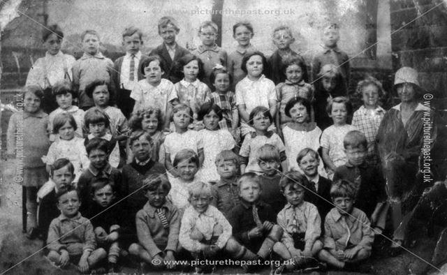 Chinley School Class Group, with Miss Imbury, Chinley c 1920s