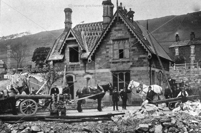 Demolishing Chinley Station, 1901