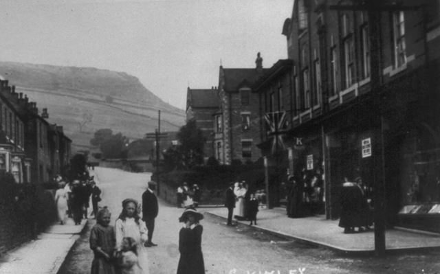 Green Lane showing shops and houses, Chinley, c 1900s