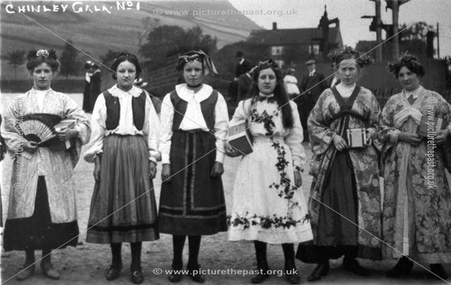 Ladies on the Bridge at Chinley Gala, Chinley, c 1900s