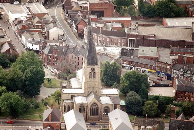 Aerial View of the Crooked Spire of Parish Church of Saint Mary and All Saints, Chesterfield, c 1990