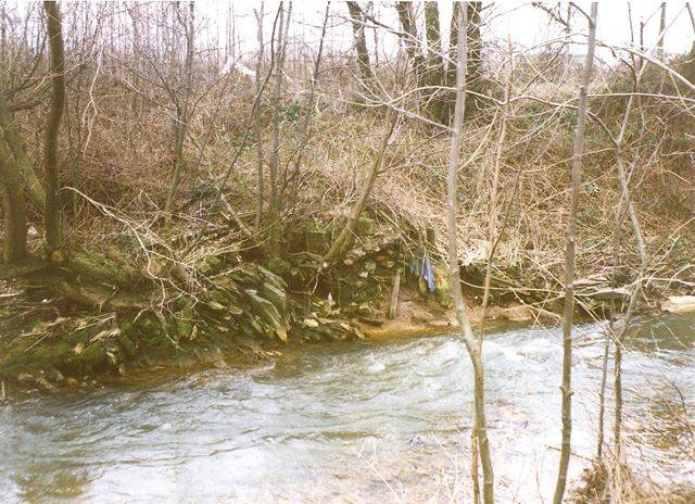 Remains of Weir for Old Mill Pond, Bottom of Whittington Hill, Old Whittington, 1994