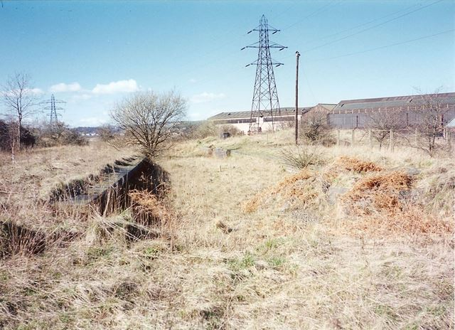 Remains of Staveley Works Station Platform, nr Station Road, Hollingwood, 1995