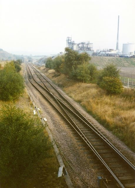 View from Railway Footbridge of Staveley Chemicals, nr Hall Lane, Barrow Hill, 1994