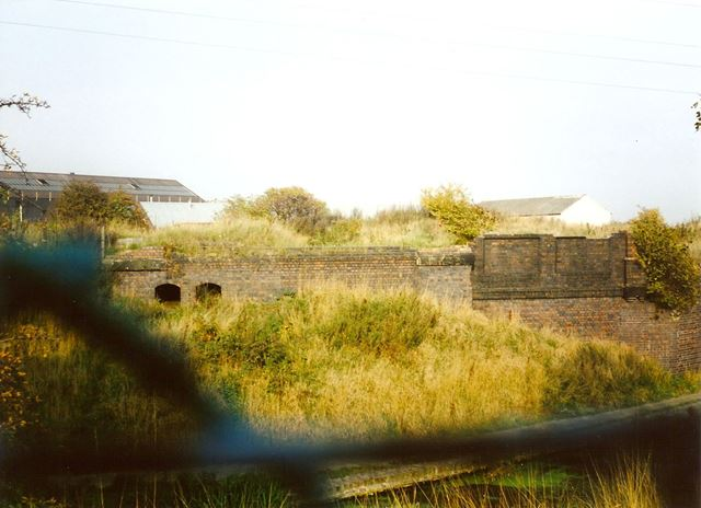 Remains of Staveley Works Railway Station, from Station Road, Hollingwood, 1994
