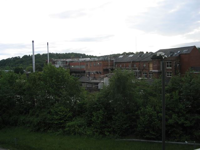 Old Trebor Sweet Factory from Footbridge on Chesterfield Bypass (A61) nr Wharf Lane, Chesterfield, 1