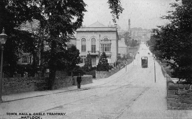 Town Hall and Cable Tramway, Bank Road, Matlock, c 1910