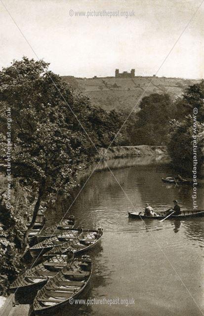 Boating on the River Derwent, Hall Leys Park, Matlock, c 1950