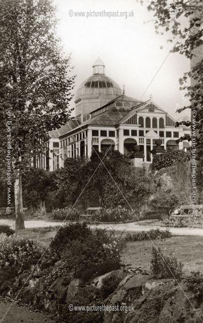Winter Garden from hotel grounds, Smedley's Hydro, Smedley Street, Matlock, c 1910
