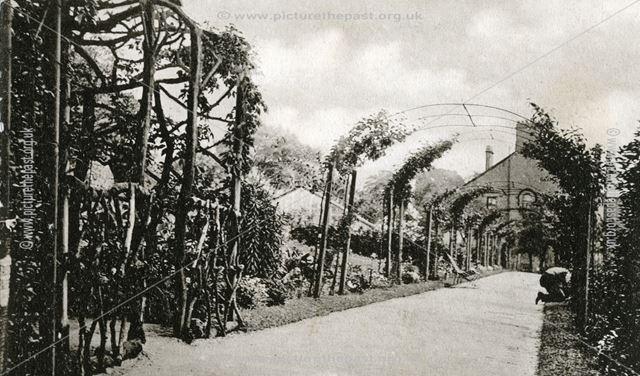 Garden of Chatsworth Hydro on Chesterfield Road, Matlock, c 1900s ?