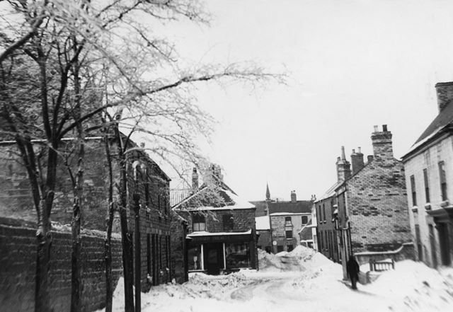 Middle Street in the Snow, Bolsover, c 1955