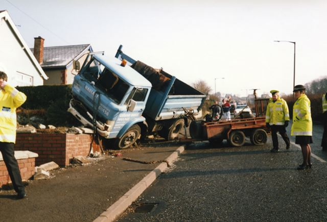Lorry Crash, Station Road, Bolsover, c 1985