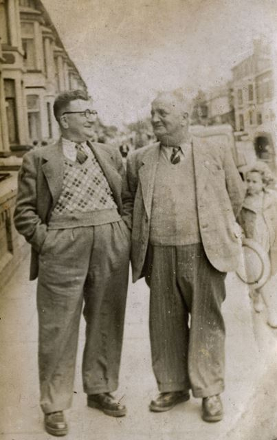 Bert Lethall and Friend, Bolsover, c 1950