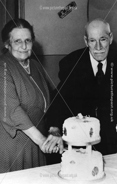 William and Elizabeth Buggins on their Golden Wedding Anniversary, Matlock, c 1975 ?