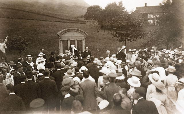 Dedication of the War Memorial at Chinley, c 1920s