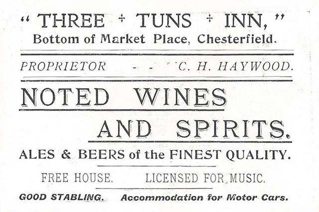 Business card for the Three Tuns Inn, Low Pavement, Chesterfield, c1910