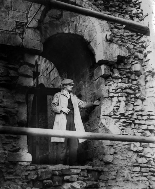Newly discovered doorway at Peveril Castle, Castleton, 1936