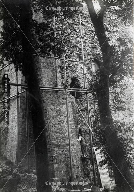 Repair work to Peveril Castle, Castleton, 1936
