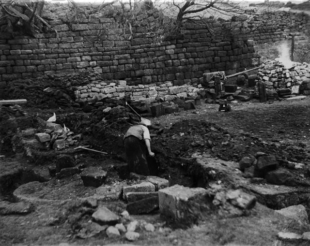 Archaeological excavation at Padley Hall, Upper Padley, 1933 ?