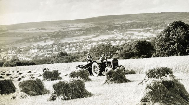 View towards Dore with harvesting underway, Bradway, South Yorkshire, 1940s ?