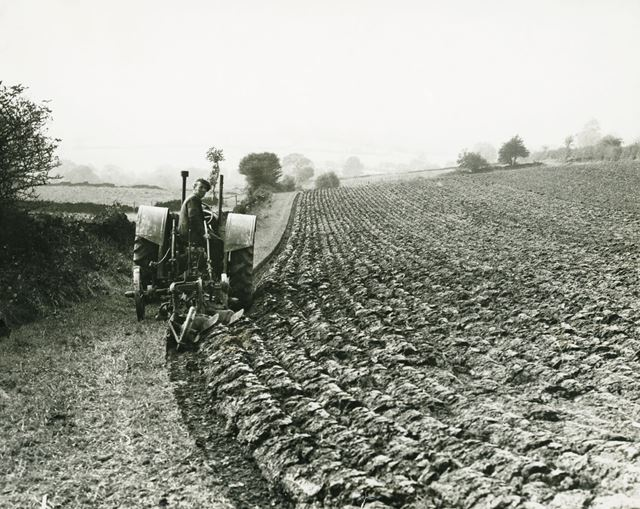 Ploughing with a tractor, Cowley, 1940s ?