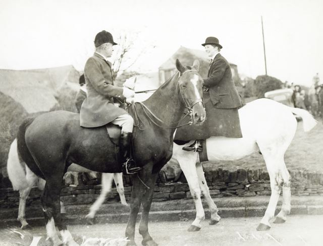 Major William Wilson JP, Master of the Barlow Hunt, at a meet, Holmesfield, 1930s/1940s ?