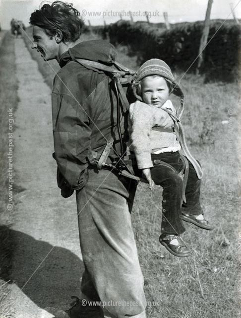 Mr Shutt and daughter Jane hiking, Longshaw, c 1940s ?