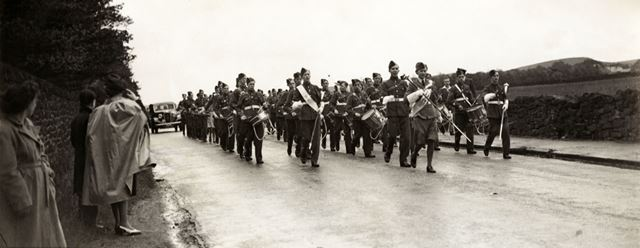 Military band at unknown location in the Peak District, c 1940s ?