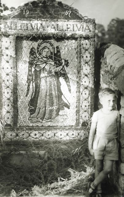 Well Dressing and small boy, unknown location, 1957