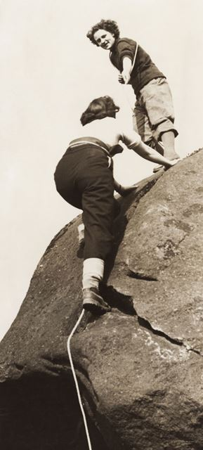 Women climbers on Burbage Moor, Hathersage, c 1940s ?