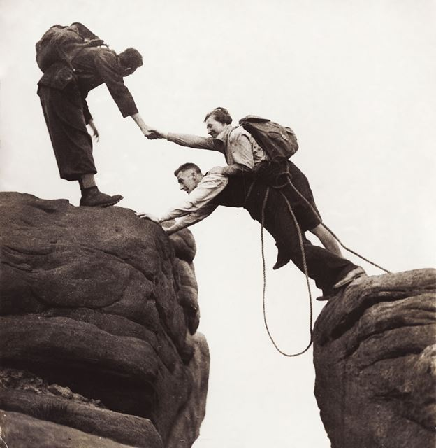 Rock climbing on Froggatt Edge, Froggatt, c 1940s ?