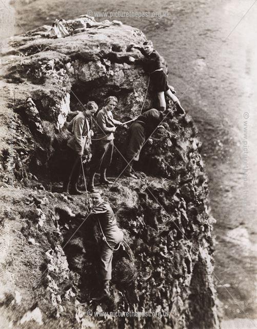 Rock climbing in Winnats Pass, Castleton, c 1940s