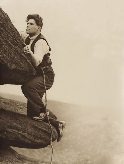 Rock climbing at unknown location, c 1940s ?